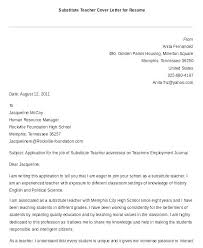 Letter To Substitute Teacher Template Cover Letter Examples For Special Education Teachers Template