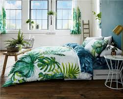 bedding set green forest fern palm