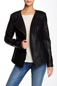 image of blanc noir sweater bonded faux leather moto jacket