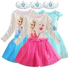 Online Shop Elsa&Anna with Crown <b>Girls Dresses Princess</b> Cosplay ...