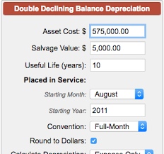 Double Declining Balance Depreciation Calculator