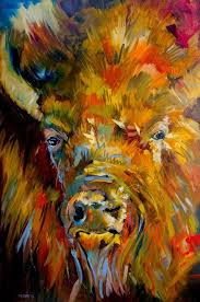 daily painters abstract gallery artoutwest diane whitehead bison wildlife animal art