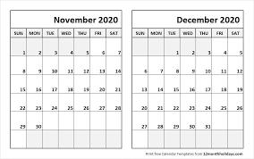 Blank Dec 2020 Calendar Print November December 2020 Calendar Template 2 Month