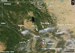 fires in western montana as seen from space