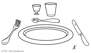 Coloriage Une Assiette Et Des Couverts