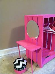 building doll furniture. closet made from a crate joannes or michaels craft store with vanity building doll furniture
