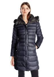andrew marc women s down coat with inner bib and fur trim hood