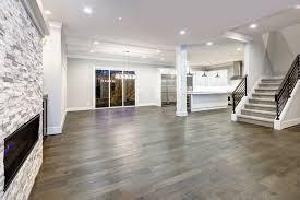 hardwood flooring living room walnut open space lighting