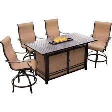somerset 5 piece rectangular outdoor bar height dining set with fire feature and swivels