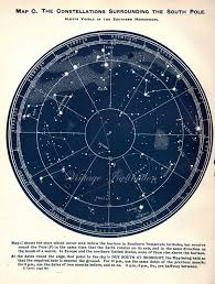 Vintage 1926 South Pole Stars Antique Star Map Astronomy