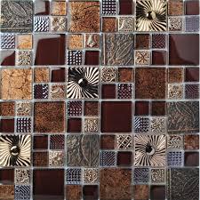 tst glass metal tile stainless steel brown kitchen backsplash flower pattern wall decor fly16