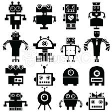 ロボットの白黒のアイコンキャラクターイラスト No 1203823無料