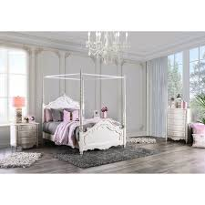 Shop Talia Traditional Pearl White 3-Piece Canopy Bed Set by FOA ...