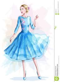 стильная красивая девушка в голубом платье женщина способа эскиз