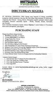 Alamat:jl.mh thamrin kp.sembung rt06/06 cikokol tangerang belakang carefour cikokol. Lowongan Kerja Purchasing Staf Pt Mitsuba 2019 Perguruan Tinggi Lepisi