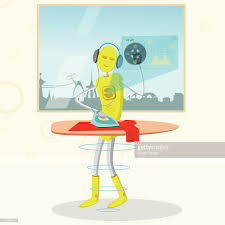 ironing clothes clipart. Exellent Clothes Robot Listening To Music And Ironing Clothes  Clipart Vectoriel And Ironing Clothes