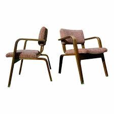vintage pair mid century modern thonet bent wood chairs