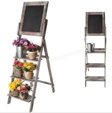 Wooden Menu Display Stands Classy Vintage Wood Chalkboard Easel Menu Display Shelf Plant Pot Flower