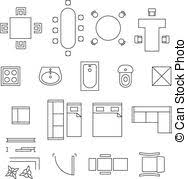 Floor Plan Icons  Vector Collection Of Outline House Plans Furniture Icons For Floor Plans