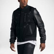 nike air destroyer varsity er jacket leather sleeves men size m 802644 010