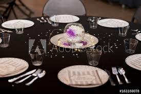 Black Tie Theme Fancy Black Tie Theme Decorated Table Buy This Stock Photo