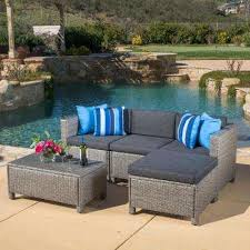 puerta gray 5 piece wicker outdoor sectional with black cushions