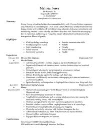 Resume Example For Nanny Templates
