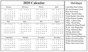 Free Printable Singapore Calendar 2020 Pdf Excel Word