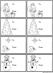 Black-and-White Christmas Gift Tags #2 to Print: EnchantedLearning.com
