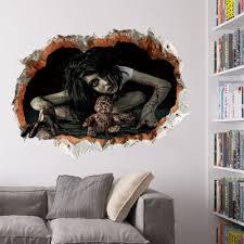zombie 3d broken wall art sticker for bedroom black