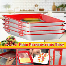 4pcs food preservation tray fresh storage organizer keeping refrigerator container microwave cover