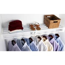 h expandable white steel s shelf and rod closet system