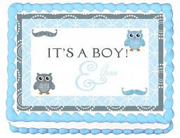 Owl Cupcake Toppers Baby Blue Owl Baby Shower DIY PrintableBaby Shower Owl Cake Toppers