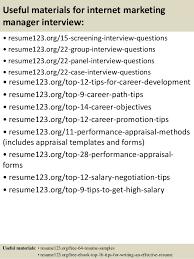 15 useful materials for internet marketing online marketing resume sample
