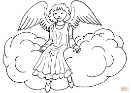 Small Picture Angel Sitting on Cloud coloring page Free Printable Coloring Pages