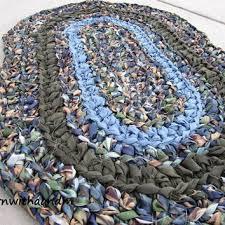 earth and sky crocheted oval shape rag rug eco friendly washab