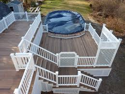 multi level above ground pool deck