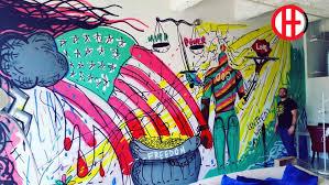 mural painter la vivache designs mural artist los angeles paints wall mura painting dtla loft mural on wall mural artist los angeles with vivache designs mural painter muralist los angeles mural