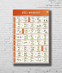 Us 2 8 24 Off Workout Stability Ball Bodybuilding Fitness Gym Chart Silk Poster Decorative Wall Paint 24x36inch In Painting Calligraphy From Home