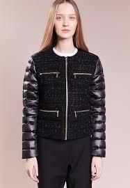 michael michael kors tweed front puffr down jacket black zalando co uk