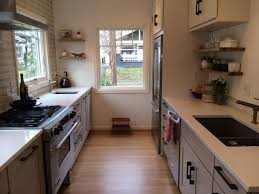 Kitchen: Inspiring Small Galley Kitchen Design With Woodne Flooring And  White Countertop   Galley Kitchen