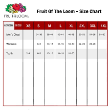 Fruit Of The Loom Stock Chart Size Chart Fruit Of The Loom