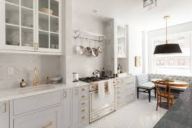Glass Kitchen Cabinet Handles Interiors Light Gray Kitchen Cabinet With White Marble Countertop