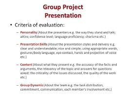 tk software management topic project communication group project presentation criteria of evaluation personality about the presenters e g