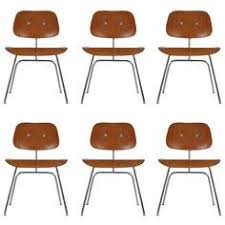 set of six charles eames for herman miller dcm plywood dining chairs