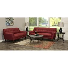 Mid-Century <b>Modern</b> Red <b>5 Piece</b> Living Room Set - Celeste | RC ...