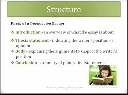 writing persuasive essays purpose the aim of a persuasive or  structure s of a persuasive essay  introduction  an overview of what the essayintroduction background information definitions thesis statement