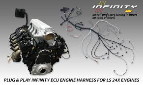 gm ls x plug play engine wiring harness for infinity ecu aem gm ls 24x plug play engine wiring harness for infinity ecu