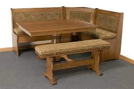 amish traditional breakfast nook set with storage and pedestal table amish corner breakfast nooks