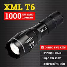 Đèn pin siêu sáng nhật bản - Đèn pin led mini XML-T6 cao cấp,cự ly chiếu  cực xa,chống nước tốt + Tặng kèm pin sạc,cốc sạc,hộp đẹp Fullbox